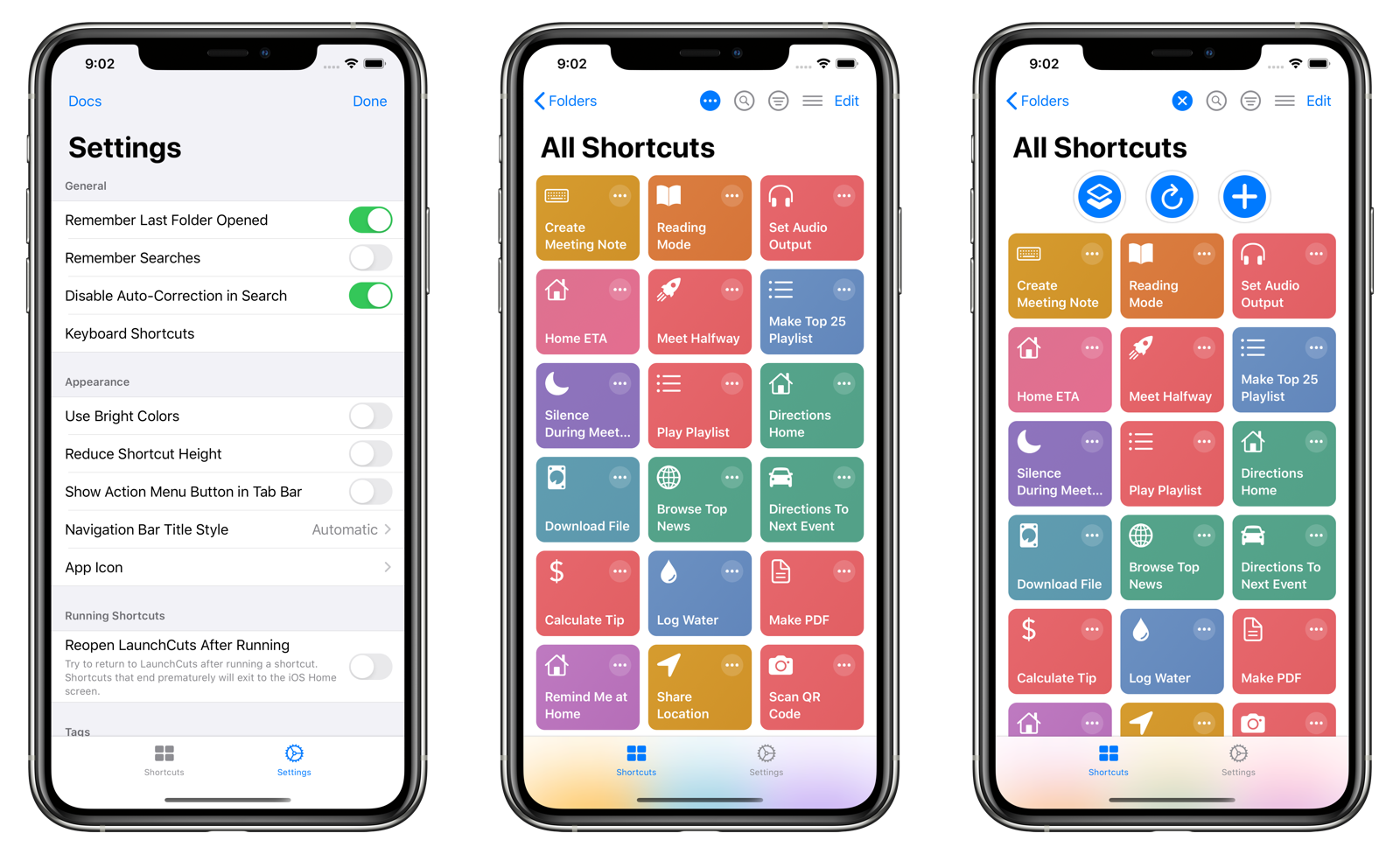 Action Menu in the Shortcuts View Navigation Bar