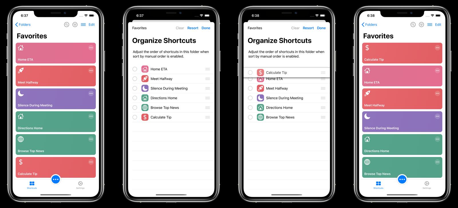 Manual sorting of shortcuts