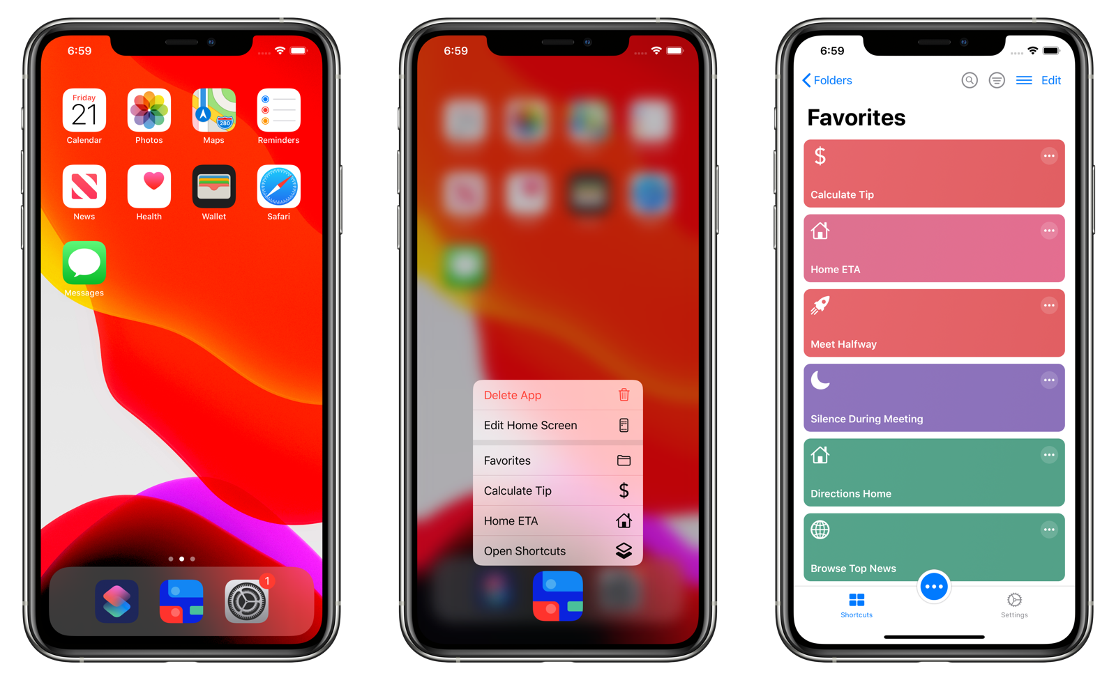 Running a Quick Action from the iOS Home screen.