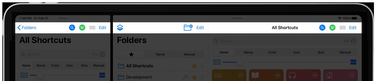 Shortcuts View Navigation Bar