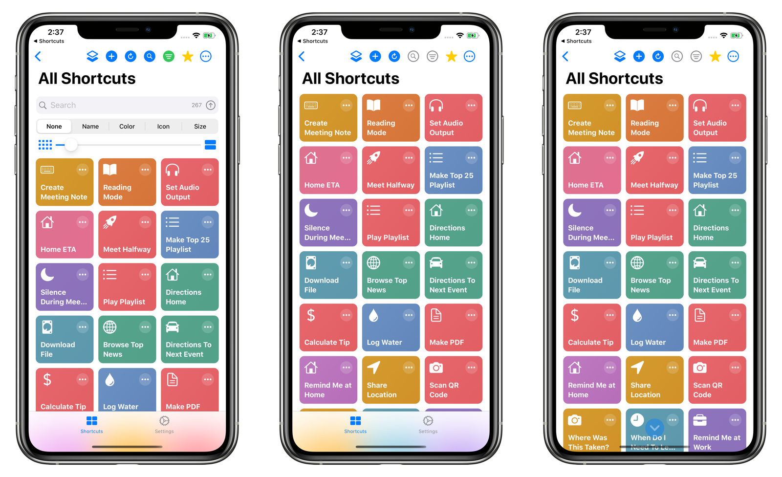 Maximizing screen real estate for the Shortcuts View
