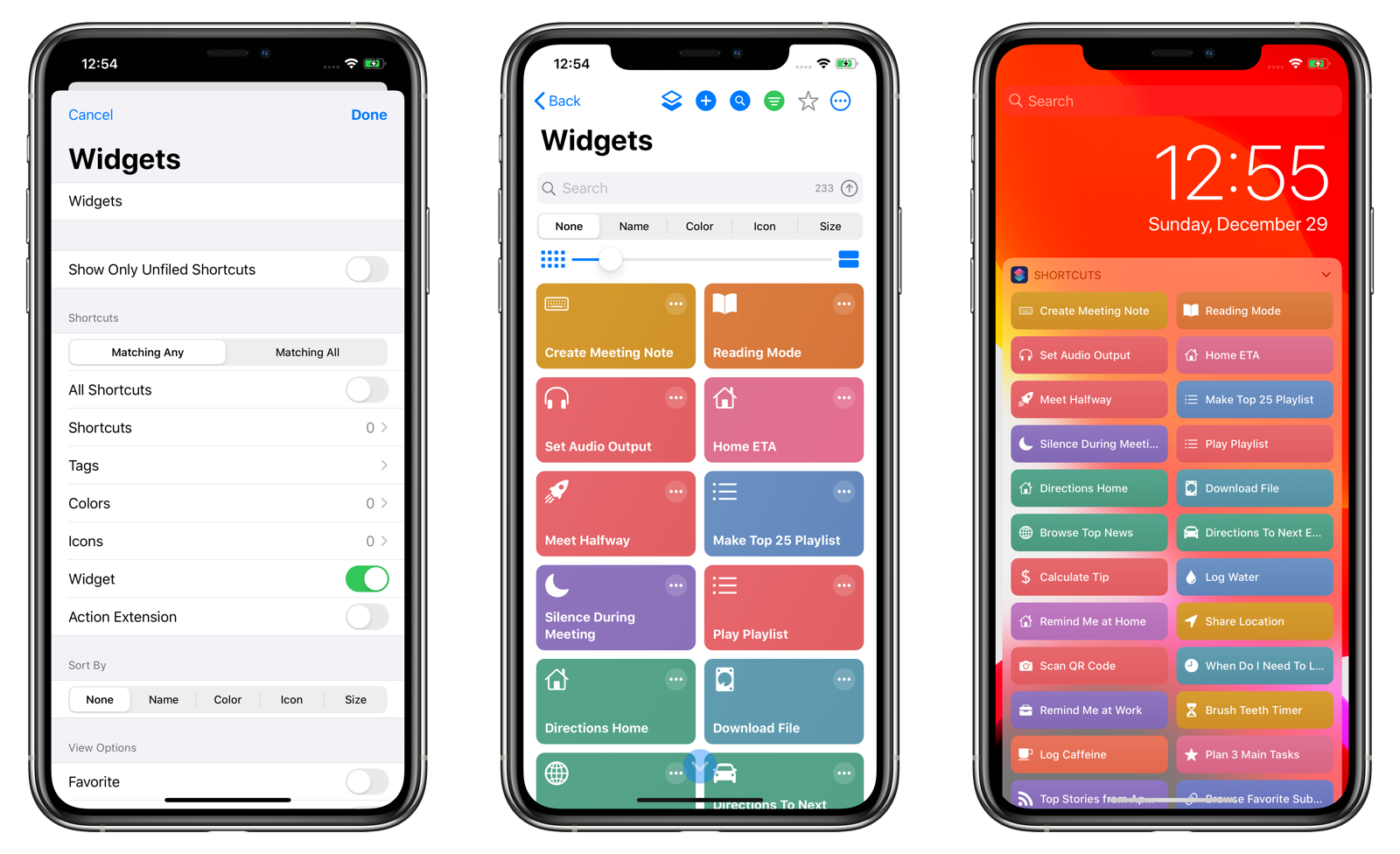 Shortcuts that display in the Shortcuts Today extension